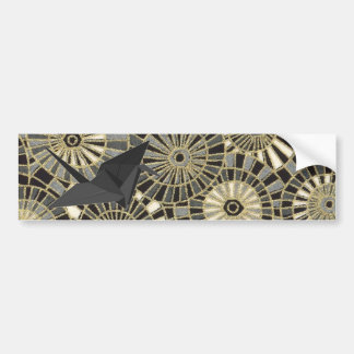 Chic Japanese Origami Black Swan Bumper Sticker