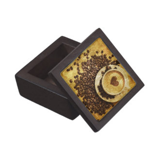 Chic Java cappuccino Coffee Beans Coffee Lover Jewelry Box