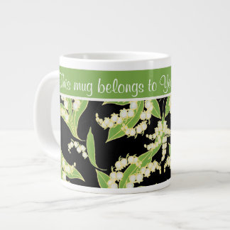 Chic Jumbo Coffee Mug: Lilies of the Valley, Black Giant Coffee Mug