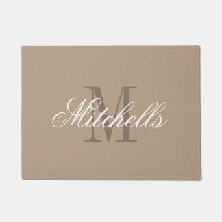 Chic khaki beige and brown name monogram door mat doormat