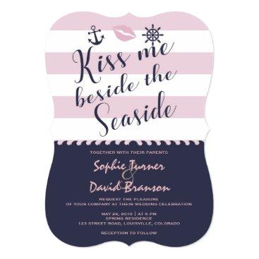 Beach Themed Chic Kiss Me Beside The Seaside Stripes Wedding Card