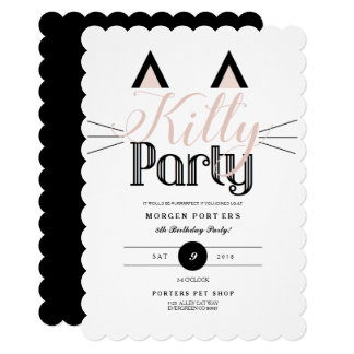 Chic Kitty Birthday Party Card