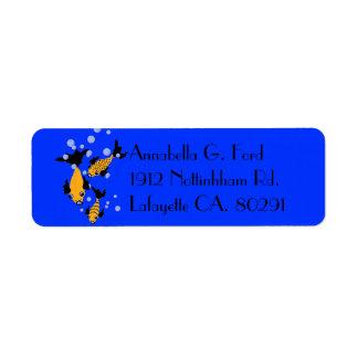 CHIC LABEL_YELLOW FISH ON BLUE CUSTOM RETURN ADDRESS LABELS