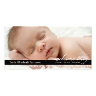 Chic Lace Baby Birth Announcement | Pink Photocard