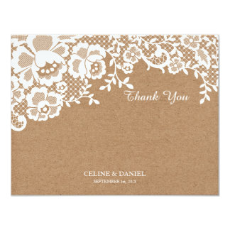 Chic Lace Kraft Wedding Thank You Flat Note Card Invite