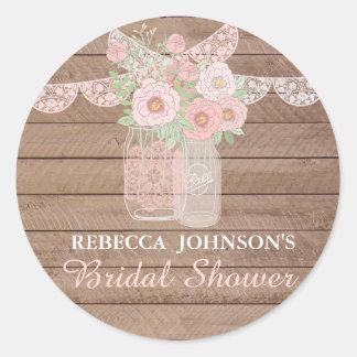 Chic Lace Mason Jar & Wood Bridal Shower Sticker