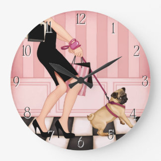 Chic lady walking her pug wall clocks
