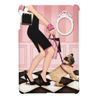Chic lady walking her pug cover for the iPad mini