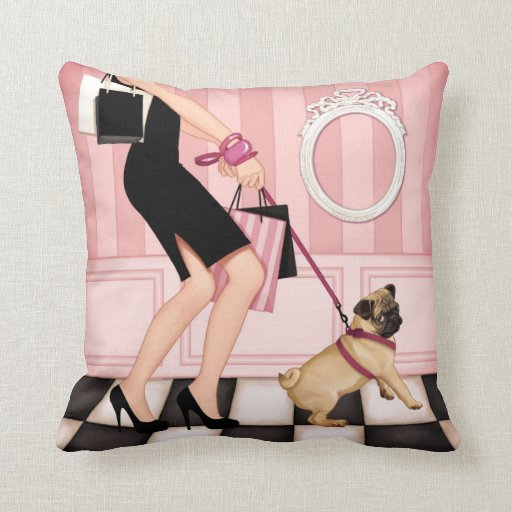 Chic lady walking her pug throw pillow