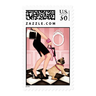 Chic lady walking her pug postage