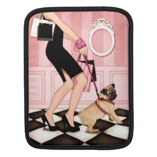 Chic lady walking her pug sleeve for iPads