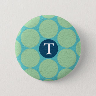 Chic Large Teal Green Polka Dots Pinback Button