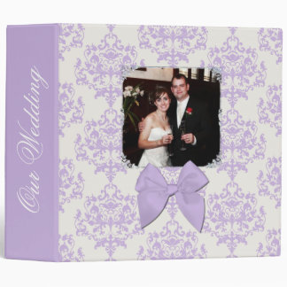 Chic Lavender Damask Wedding Binder
