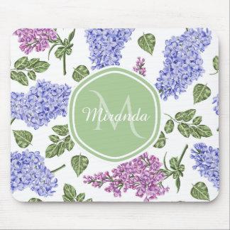 Chic Lavender Lilac Floral Pastel Green Monogram Mouse Pad
