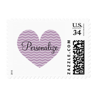 Chic lavender purple chevron pattern heart stamps