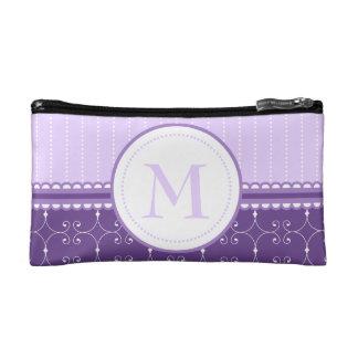 Chic Lavender Purple Custom Monogram Pattern Cosmetic Bag
