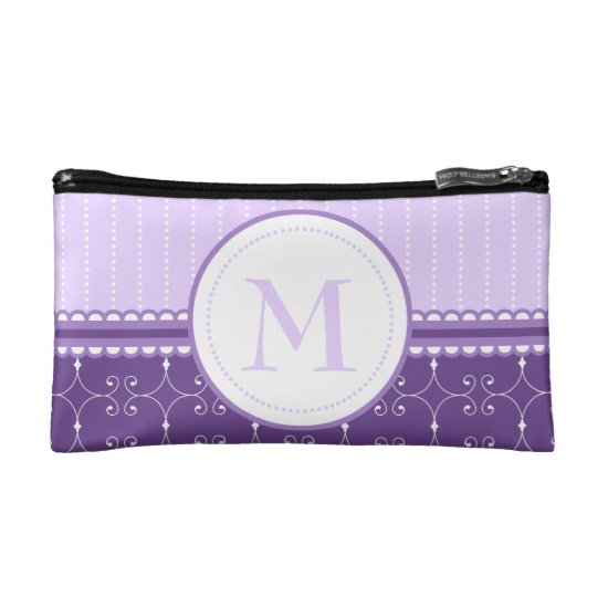 Chic Lavender Purple Custom Monogram Pattern Cosmetic Bag