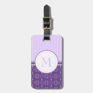 Chic Lavender Purple Custom Monogram Pattern Luggage Tag