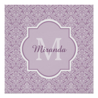 Chic Lavender Purple Damask Monogram With Name Poster