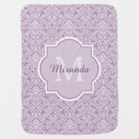 Chic Lavender Purple Damask Monogram With Name Receiving Blanket