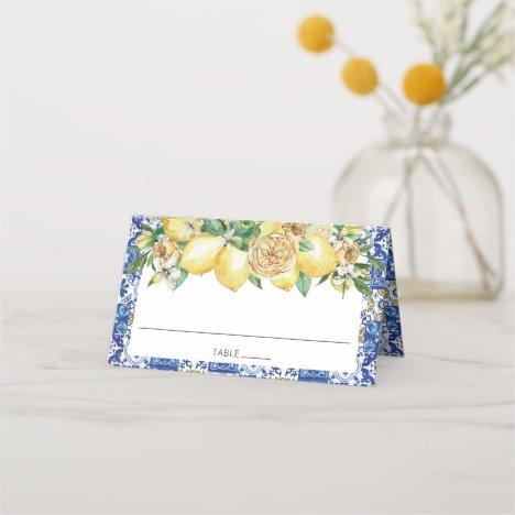 Chic Lemon Greenery Floral Mediterranean Bridal Place Card