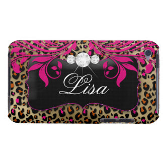 Chic Leopard iPod Barely There Cover Black Pink