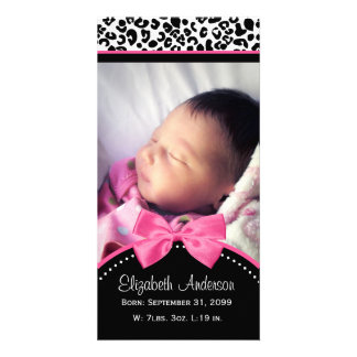 Chic Leopard Print Baby Photo Birth Announcement