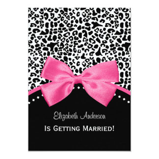 Chic Leopard Print Bridal Shower With Pink Ribbon Card