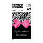 Chic Leopard Print Bridal Shower With Pink Ribbon Postage Stamp