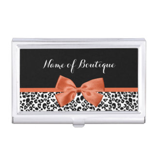 Chic Leopard Print Burnt Orange Bow Boutique Business Card Holder