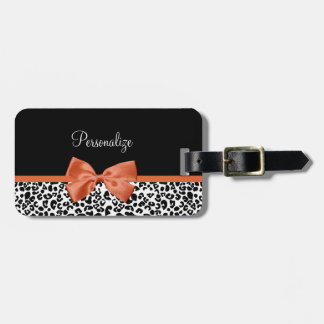 Chic Leopard Print Burnt Orange Bow With Name Luggage Tag