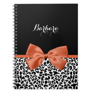 Chic Leopard Print Burnt Orange Bow With Name Notebook