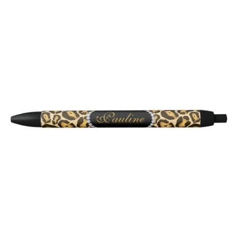Chic Leopard Print Faux Diamond Monogram Black Ink Pen