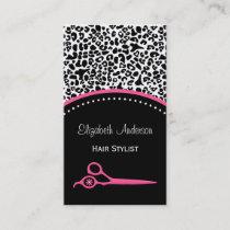 Chic Leopard Print Hair Stylist and Beauty Salon Business Card