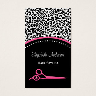 Chic Leopard Print Hair Stylist and Beauty Salon Business Card