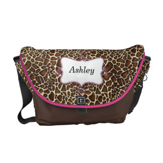 chic leopard print hot pink personalized messenger bag