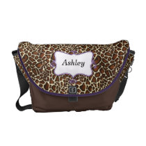 chic leopard print  purple personalized messenger bag
