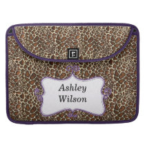 chic leopard print  purple personalized sleeve for MacBooks