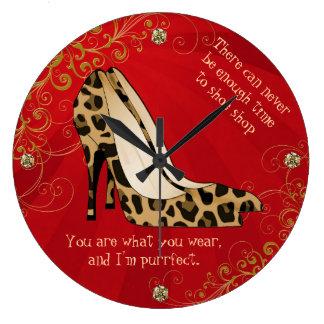 Chic Leopard Print Stiletto Heels Wall Clock