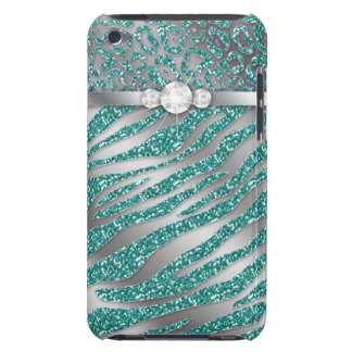 Chic Leopard Zebra iPod Barely There Cover Teal iPod Touch Cases