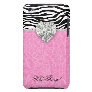 Chic Leopard Zebra iPod Barely There Heart Pink iPod Case-Mate Cases
