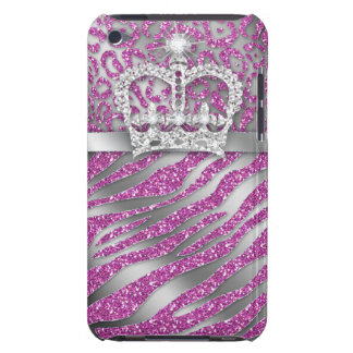 Chic Leopard Zebra iPod Barely There Pink Crown iPod Touch Cases