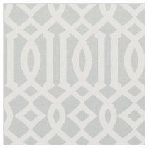 Chic Light Gray and White Trellis Lattice Pattern Fabric