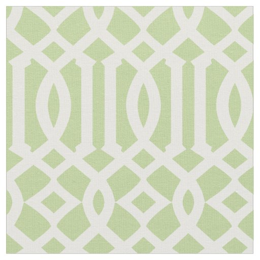 Chic Light Green and White Trellis Lattice Pattern Fabric ...