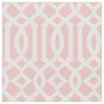 Chic Light Pink and White Trellis Pattern Fabric