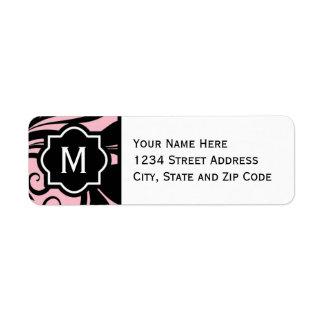 Chic Light Pink Black and White Flourish Monogram Label