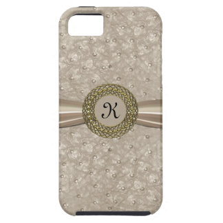 Chic Light Tan Ostrich Leather Look Monogram iPhone SE/5/5s Case