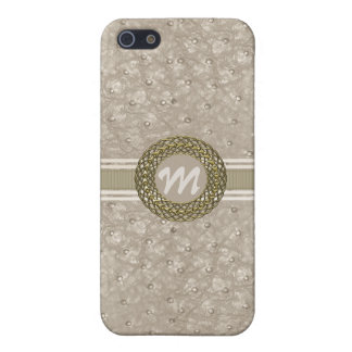 Chic Light Tan Ostrich Leather Look Monogram iPhone SE/5/5s Cover