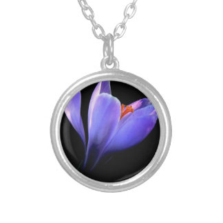 Chic lilac crocus flower black, blue purple gifts personalised necklace