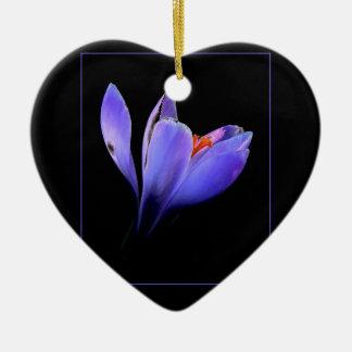 Chic lilac crocus flower black, blue purple gifts christmas tree ornament